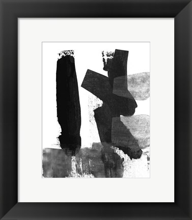 Framed BW Brush Stroke VII Print