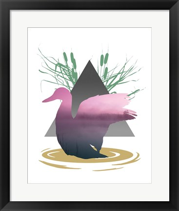 Framed Pink Ombre River in Duck Silhouette Print