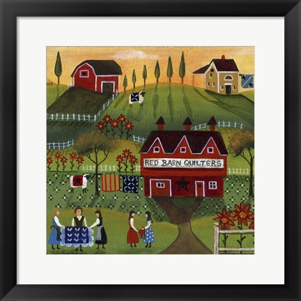 Framed Red Barn Quilters Print