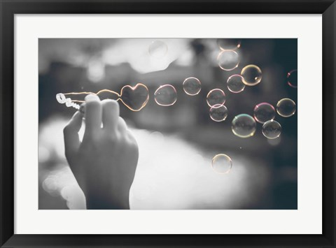 Framed Pop of Color Rainbow Love Bubbles Print
