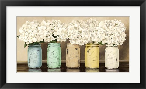 Framed Hydrangeas in Mason Jars Print