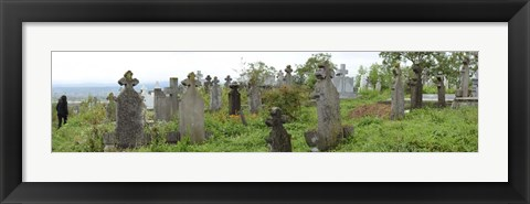 Framed View of Cemetery, Bradu, Arges County, Romania Print