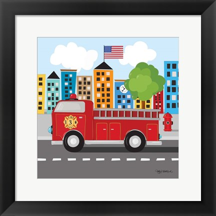 Framed Fire Truck Print
