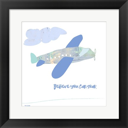 Framed Soar Airplane Print