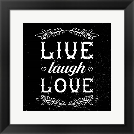 Framed Live Laugh Love-Black Print