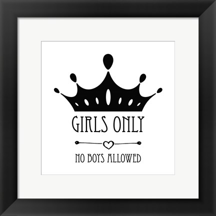 Framed Girls Only Crown White Print