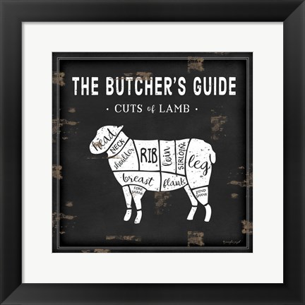 Framed Butcher's Guide Lamb Print