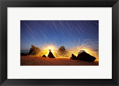Framed Fire In Star Trails Print