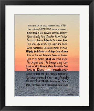 Framed Names of Jesus Ocean Sunset Print