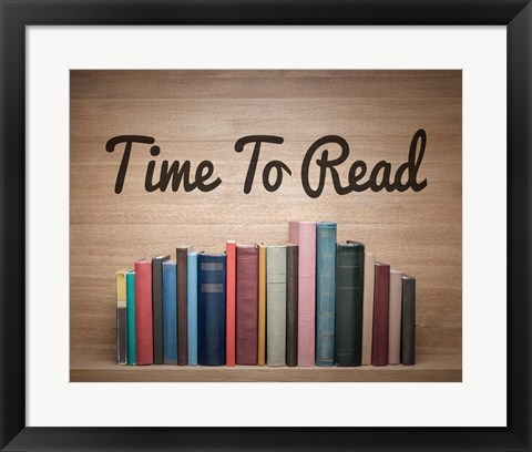 Framed Time To Read - Wood Background Color Print