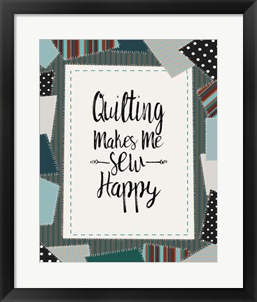 Framed Quilting Makes Me Sew Happy Green Print