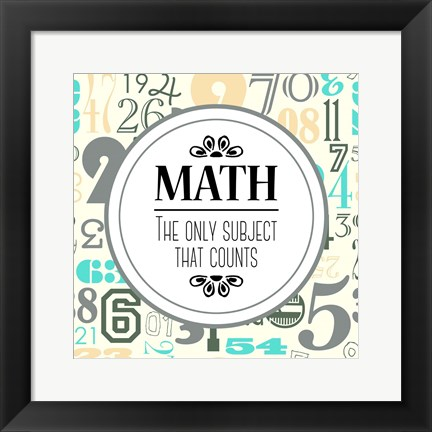 Framed Math The Only Subject That Counts Gray Print