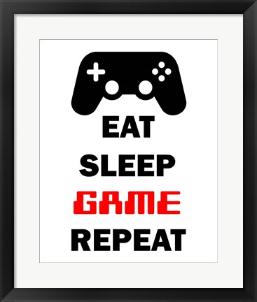 Framed Eat Sleep Game Repeat  - White Print