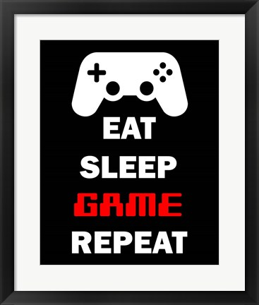 Framed Eat Sleep Game Repeat  - Black Print