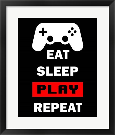 Framed Eat Sleep Game Repeat  - Black and Red Print