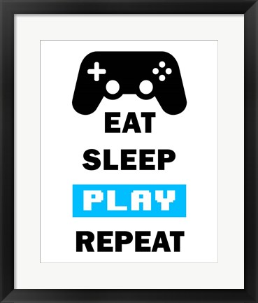 Framed Eat Sleep Game Repeat  - White and Blue Print