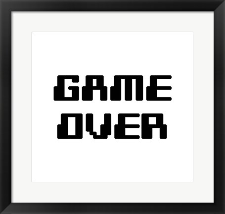 Framed Game Over  - White Print