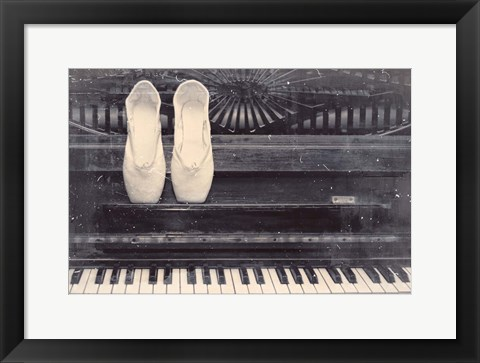 Framed Ballet Shoes And Piano Old Photo Style Dust and Scratches Print
