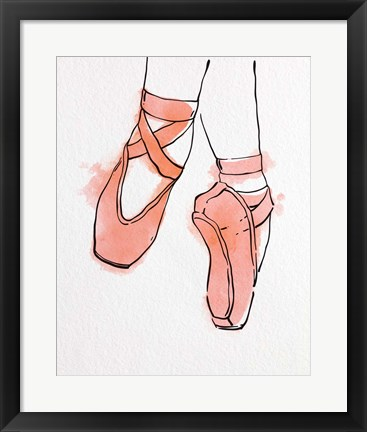 Framed Ballet Shoes En Pointe Orange Watercolor Part II Print