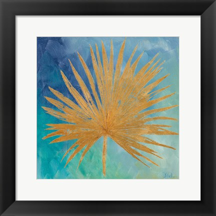 Framed Teal Gold Leaf Palm I Print