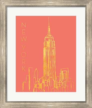 Framed New York on Coral Print