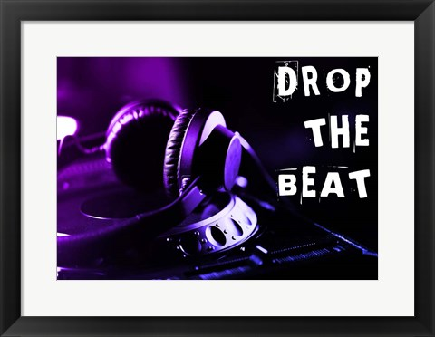 Framed Drop The Beat - Purple and Blue Print