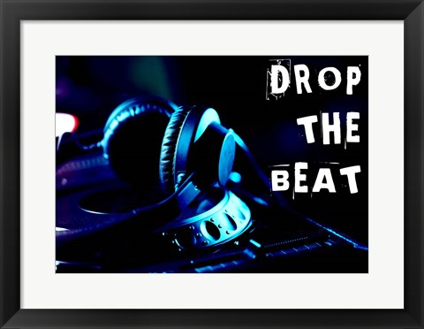 Framed Drop The Beat - Navy and Cyan Print