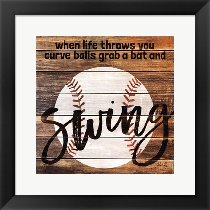 Framed Grab a Bat and Swing Print