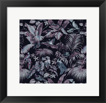 Framed Jungle Canopy Midnight Print