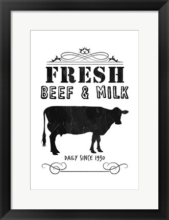 Framed Fresh Beef And Milk Print