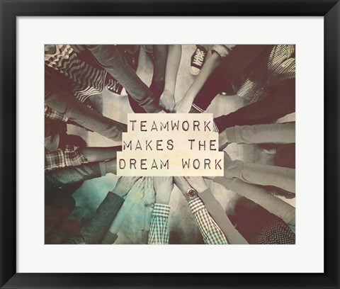 Framed Teamwork Makes The Dream Work Stacking Hands Black and White Print