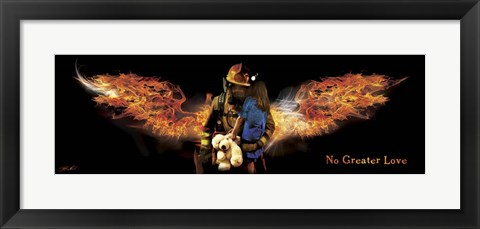 Framed No Greater Love Fireman Rescue Print