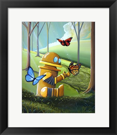Framed Bot and the Butterflies Print