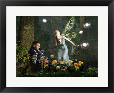Framed Knight And The Faerie Print