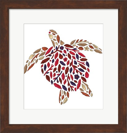 Framed Blooming Animals - Turtle Print