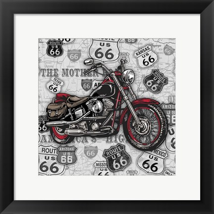 Framed Vintage Motorcycles on Route 66-1 Print