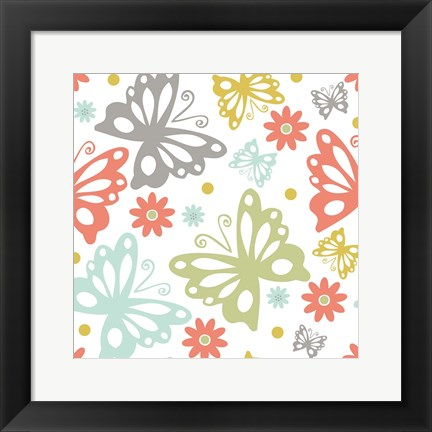 Framed Butterflies and Blooms Tranquil II Print