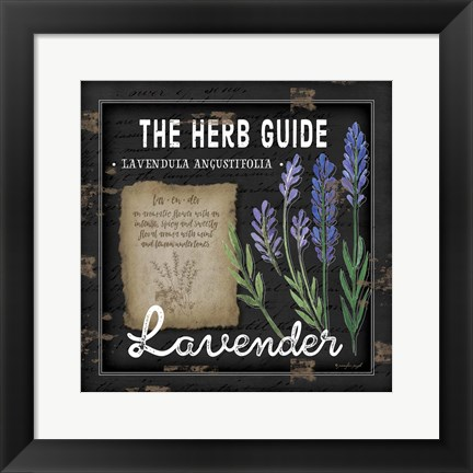 Framed Herb Guide Lavender Print