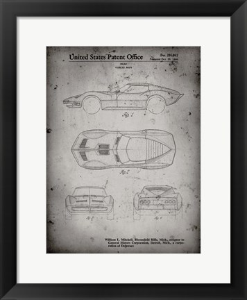 Framed Vehicle Body Patent - Faded Grey Print