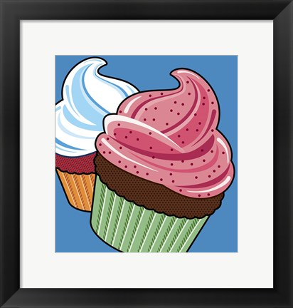 Framed Cupcakes On Blue Print