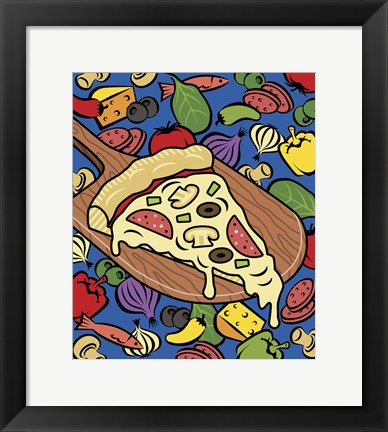 Framed Pizza Slice With Toppings Print