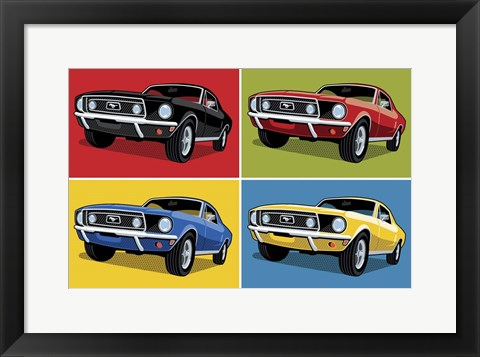 Framed 1968 Mustang Classic Car Print