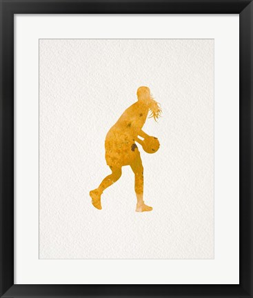 Framed Basketball Girl Watercolor Silhouette Part III Print