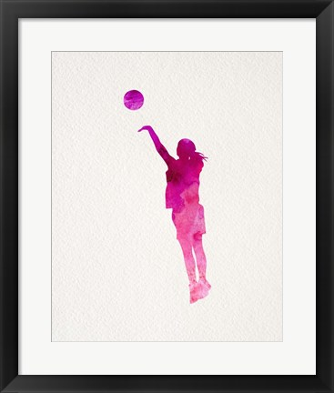 Framed Basketball Girl Watercolor Silhouette Part IV Print
