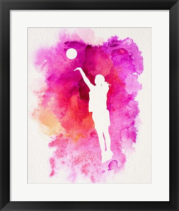 Framed Basketball Girl Watercolor Silhouette Inverted Part IV Print