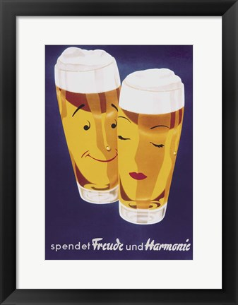 Framed Female Male Beer Print