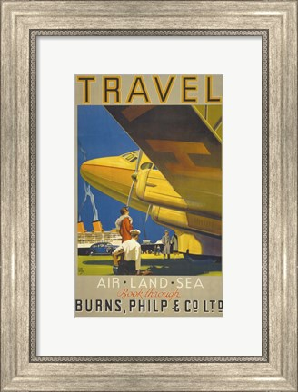 Framed Art Deco Airplane Travel Print