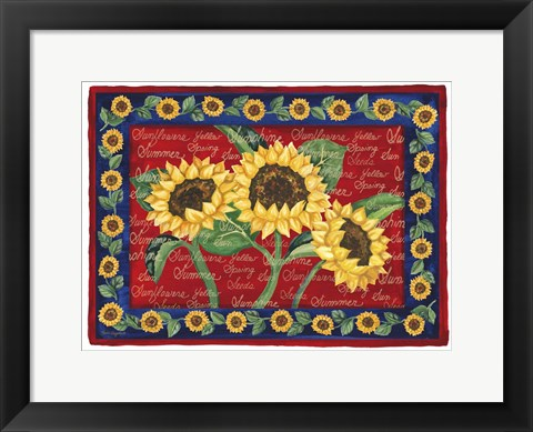 Framed Sunflower Design Print