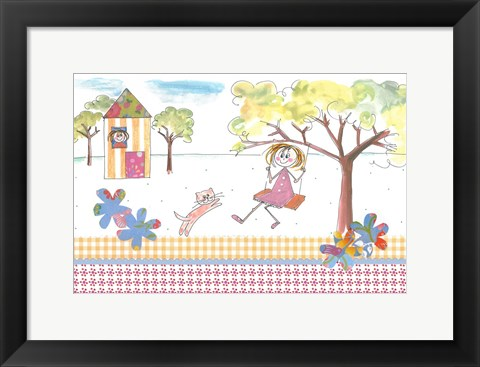 Framed Girl On Swing Print