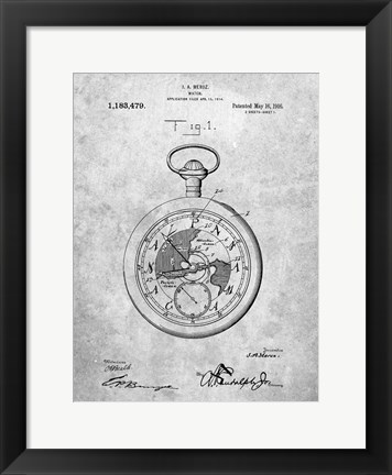 Framed Watch Patent Print